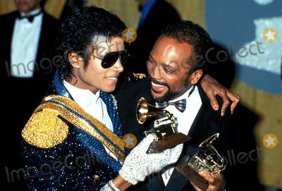 Michael Jackson,Quincy Jones,Michael Jones Photos - Michael Jackson and Quincy Jones Photo Globe Photos Inc