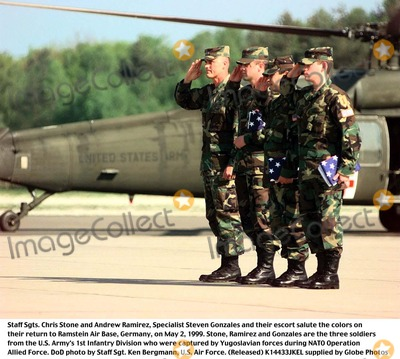 Andrew Ramirez Photo - 990502-F-4406B-504Staff Sgts Chris Stone and Andrew Ramirez Specialist Steven Gonzales and their escort salute the colors on their return to Ramstein Air Base Germany on May 2 1999  Stone Ramirez and Gonzales are the three soldiers from the US Armys 1st Infantry Division who were captured by Yugoslavian forces during NATO Operation Allied Force  DoD photo by Staff Sgt Ken Bergmann US Air Force (Released)
