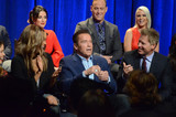 Arnold Schwarzenegger Photo - Tyra Banks Kyle Richards Arnold Schwarzenegger Matt Iseman Carrie Keagan Patrick Schwarzeneggerat The New Celebrity Apprentice Cast QA Universal Studios Universal City CA 12-09-16