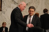 Al Franken Photo - Washington DC 6302010RESTRICTED NEW YORKNEW JERSEY OUTNO NEW YORK OR NEW JERSEY NEWSPAPERS WITHIN A 75  MILE RADIUSElena Kagan nomination hearingAssociate Justice Supreme Court nominee Solicitor General Elena Kagan testifies at day three of her confirmation hearing before the Senate Judiciary Committee (left) Committee Chairman Patrick Leahy (D-VT) and (right) Sen Al Franken (D-MN) speak during a short recessDigital photo by Elisa Miller-PHOTOlinknet