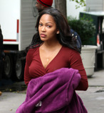 Meagan Good Photo - November 8 2012 New York CityActress Meagan Good was on the set of the TV show Infamous on November 8 2012 in New York City