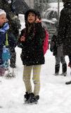 AVA JACKMAN Photo - January 21 2014 New York CityActress Deborra-Lee Furness picks up her daughter Ava Jackman from school in the snow in Soho on January 21 2014 in New York City