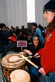 JFK Photo - Anti-war Demonstration Jfk Memorial Dallas Tx 02-15-03 17 Year Old Dallas Native Christie Kyle Leads a Drum Circle Photojeff Newman  Globe Photos Inc 2003