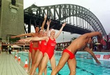 Ian Thorpe Photo - DAVE  MORGANALPHA 046933 28022002 SYDNEY AUSTRALIAIAN THORPE AND GRANT HACKETT GO SYNCHRONISED SWIMMING AT NORTH SYDNEY POOL-OLYMPIC CHAMPIONS SWIMMERS IAN THORPE GRANT HACKET  KIEREN PERKINS DONNED NOSE PAGS AND JOINED MEMBERS OF THE AUSTRALIAN SYNCHRONSED SWIMMING SQUAD IN SYDNEY TO LAUNCH UNCLE TOBYS NEW EDGE FOR LIFE CAMPAIGNCREDIT DAVE MORGANALPHAGLOBE PHOTOS INC