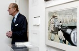 King Queen Photo - NO UK RIGHTS FOR 30 DAYS FROM PICTURE DATEALPHA 049931 04122002THE DUKE OF EDINBURGH (PRINCE PHILLIP)  ARRIVES THE CARTOON ART TRUSTS KINGS AND QUEENS EXHIBITION AT THE MALL GALLERIES LONDON OF WHICH HE IS A PATRON ON THE WALL IS A CARTOON BY JOHN JONSEN ENTITLES PRESS NOT BY APPOINTMENT FROM PUNCH MAGAZINE JANUARY 16 1981 THIS WAS LOANED BY THE DUKEAlphaGlobe Photos Inc  2002A12247