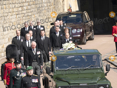 Wale Photo - Photo Must Be Credited Alpha Press 073074 17042021Princess Anne Princess Royal Prince Charles Prince of Wales Prince Andrew Duke of York Prince Edward Earl of Wessex Prince William Duke of Cambridge Peter Phillips Prince Harry Duke of Sussex Earl of Snowdon Viscount Lord David Linley David Armstrong-Jones and Vice-Admiral Sir Timothy Laurence follow Prince Philip Duke of Edinburghs coffin on a modified Jaguar Land Rover during the Ceremonial Procession during the funeral of Prince Philip Duke of Edinburgh at St Georges Chapel in Windsor Castle in Windsor Berkshire No UK Rights Until 28 Days from Picture Shot Date AdMedia