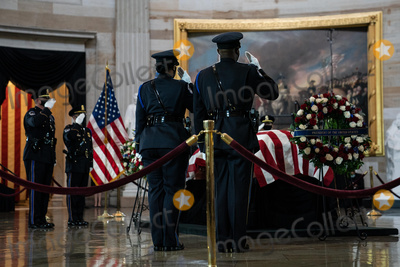 Photo - US Capitol Police Honor Guard members rotate their positions as the late Officer William Billy Evans lies in honor in the Rotunda of the US Capitol in Washington DC on April 13th 2020Credit Anna Moneymaker  Pool via CNPAdMedia