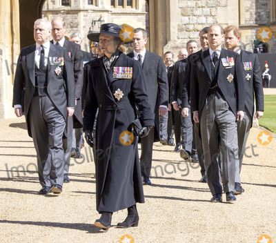 Peter Phillips Photo - Photo Must Be Credited Alpha Press 073074 17042021Princess Anne Princess Royal Prince Andrew Duke of York Prince Edward Earl of Wessex Prince William Duke of Cambridge Peter Phillips Prince Harry Duke of Sussex and Vice-Admiral Sir Timothy Laurence follow Prince Philip Duke of Edinburghs coffin on a modified Jaguar Land Rover during the Ceremonial Procession during the funeral of Prince Philip Duke of Edinburgh at St Georges Chapel in Windsor Castle in Windsor Berkshire No UK Rights Until 28 Days from Picture Shot Date AdMedia