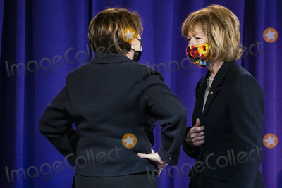 Ministry Photo - United States Senator Amy Klobuchar (Democrat of Minnesota) left and US Senator Tina Smith (Democrat of Minnesota) right talk before Daunte Wrights funeral at Shiloh Temple International Ministries for the funeral of Daunte Wright in Minneapolis Minn US on Thursday April 22 2021 Wright was shot by police officer Kimberly Ann Potter who claims she thought she was deploying a taser when Wright attempted to flee as police attempted to place him under arrest for an outstanding warrant during a traffic stop Credit Samuel Corum  CNPAdMedia