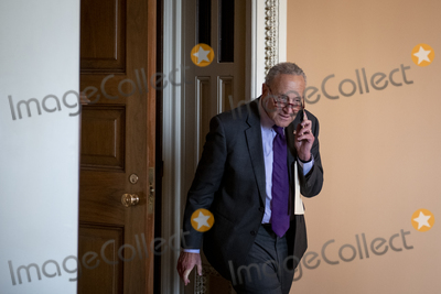 Photo - United States Senate Majority Leader Chuck Schumer (Democrat of New York) arrives for a press conference following the Senate Democrats policy luncheon at the US Capitol in Washington DC Tuesday September 14 2021 Credit Rod Lamkey  CNPAdMedia