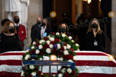 Photo - United States Vice President Kamala Harris pays her respects to the late Officer William Billy Evans as the casket carrying his remains lies in honor in the Rotunda of the US Capitol in Washington DC on April 13th 2020Credit Anna Moneymaker  Pool via CNPAdMedia