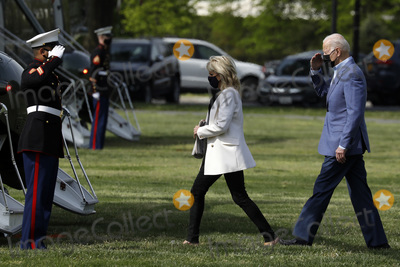 Jill Biden Photo - United States President Joe Biden and first lady Dr Jill Biden depart the White House en route Wilmington Delaware from the Ellipse in Washington DC on April 24 2021Credit Yuri Gripas  Pool via CNPAdMedia