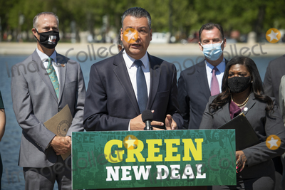 Alex Padilla Photo - United States Senator Alex Padilla (Democrat of California) offers remarks during a press conference to re-introduce the Green New Deal in front of the US Capitol in Washington DC Tuesday April 20 2021 Credit Rod Lamkey  CNP