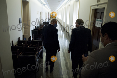 Photo - United States Senate Minority Leader Chuck Schumer (Democrat of New York) and US Senator Ed Markey (Democrat of Massachusetts) make their exit down a long hallway following a press conference of a coalition of grassroots groups labor unions Black Brown and Indigenous leaders from across the nation for the introduction of a bold plan for economic renewal known as the Transform Heal and Renew by Investing in Vibrant Economy (THRIVE) in the Longworth House Office Building on Capitol Hill in Washington DC Thursday September 10 2020 Credit Rod Lamkey  CNPAdMedia