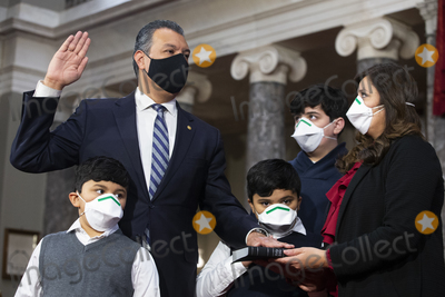 Alex Padilla Photo - Democratic Senator from California Alex Padilla (Back L) participates in a ceremonial swearing-in with members of his family (L to R) son Diego Padilla (age 6) son Alex Padilla (age 7) son Roman Flores (age 13) and spouse Angela Padilla (R) in the Old Senate Chamber on Capitol Hill in Washington DC USA 04 February 2021Credit Michael Reynolds  Pool via CNP