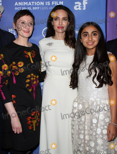 Photo - 20 October 2017 - Hollywood California - Nora Twomey Angelina Jolie and Saara Chaudry The Breadwinner US Premiere held at the TCL Chinese 6 Theatre in Hollywood Photo Credit AdMedia