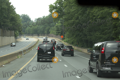Photo - The presidential motorcade carrying United States President Donald J Trump makes its way to Trump National Golf Club in Sterling Virginia on Sunday August 2 2020  Credit Stefani Reynolds  CNPAdMedia