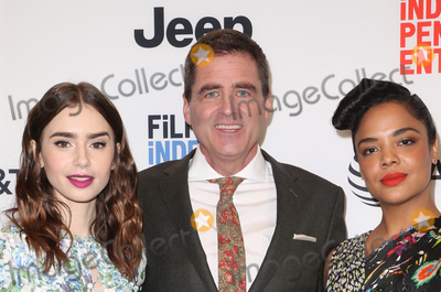 Photo - 21 November 2017 -  West Hollywood California - Lily Collins President of Film Independent Josh Welsh Tessa Thompson Film Independent 2018 Spirit Awards Press Conference held at The Jeremy Hotel Photo Credit Faye SadouAdMedia