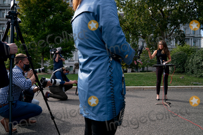 Photo - Alyssa Farah Participates in a TV interview at the White House