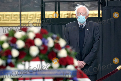 Photo - United States Senator Bernie Sanders (Independent of Vermont) pays his respects to US Capitol Police officer William Evans as he lies in honor at the US Capitol in Washington DC on Tuesday April 13 2021Credit Greg Nash  Pool via CNPAdMedia