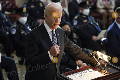 Photo - United States President Joe Biden speaks during a ceremony to honor slain US Capitol Police officer William Billy Evans as he lies in honor at the Capitol in Washington Tuesday April 13 2021 Credit J Scott Applewhite  Pool via CNPAdMedia