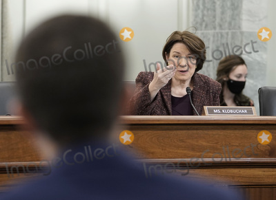 Photo - United States Senator Amy Klobuchar (Democrat of Minnesota) speaks at the Senate Commerce Science and Transportation nomination hearings to examine the expected nomination of Peter Buttigieg of Indiana to be Secretary of Transportation in Washington DC on Thursday January 21 2021  Credit Ken Cedeno  Pool via CNPAdMedia