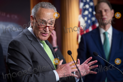 Photos From United States Senate Majority Leader Chuck Schumer (Democrat of New York) holds a press conference on the Child Tax Credit