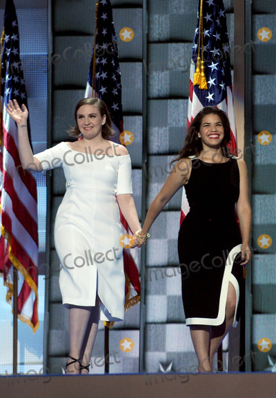 AMERICA FERERRA Photo - Photo by Dennis Van TinestarmaxinccomSTAR MAX2016ALL RIGHTS RESERVEDTelephoneFax (212) 995-119672616Lena Dunham and America Fererra at Day 2 of The Democratic National Convention(Philadelphia PA)