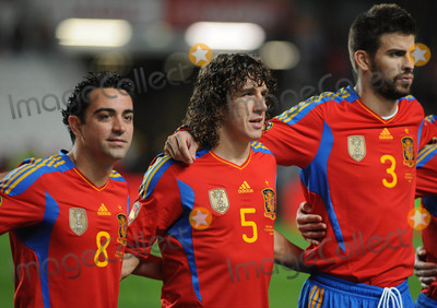 Xavi Hernandez Photo - Lisbon Portugal 11-17-2010 Portugal Vs Spain International Friendly Match in Picture Xavi Hernandez Carles Puyol and Gerard Pique Photo by Alvaro Isidoro-cityfiles-Globe Photos Inc