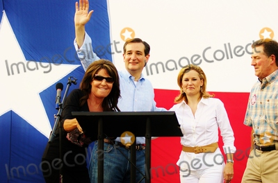 Heidi Cruz Photo - Candidate Ted Cruz Speaks to a Crowd of About 1000 Supporters at a Campaign Event at Town Creek Park in the Woodlands Texas on 07272012l-r)sarah Palinted Cruzheidi Cruzus Senator Jim Demint(r) South Carolina Photo by Jeff Newman-Globe Photos-Globe Photos Inc