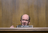 The Used Photo - United States Senator Chris Coons (Democrat of Delaware) makes his opening statement during a hearing of the US Senate Judiciary Subcommittee on Privacy Technology and the Law at the US Capitol in Washington DC on Tuesday April 27 2021  The committee will hear testimony about social media platforms use of algorithms and amplification Credit Tasos Katopodis  Pool via CNPAdMedia