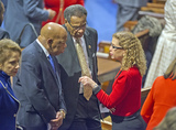 Barack Obama Photo - United States Representatives John Lewis (Democrat of Georgia) left Emanuel Cleaver II (Democrat of Missouri) center and Debbie Wasserman Schultz (Democrat of Florida) right share a conversation prior to US President Barack Obama delivering his final State of the Union Address in the US House Chamber in the US Capitol on Tuesday January 12 2016Credit Ron Sachs  CNP(RESTRICTION NO New York or New Jersey Newspapers or newspapers within a 75 mile radius of New York City)AdMedia
