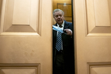 Senator Lindsey Graham Photo - Senator Lindsey Graham a Republican from South Carolina puts a protective mask on while arriving to the US Capitol in Washington DC US on Saturday Feb 13 2021 The Senate approved 55-45 a request to consider calling witnesses in the second impeachment trial of Donald Trump a move that may extend the trial that was expected to end within hours Credit Stefani Reynolds - Pool via CNPAdMedia