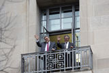 The National Photo - United States Attorney General William P Barr and Solicitor General of the United States Noel Francisco wave from the balcony of the Department of Justice at the crowd gathered for the March for Life on the National Mall in Washington DC US on Friday January 24 2020Credit Stefani Reynolds  CNPAdMedia