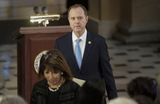 Adam Schiff Photo - United States Representative Adam Schiff (Democrat of California) Chairman US House Permanent Select Committee on Intelligence and US Representative Jackie Speier (Democrat of California) arrive for memorial services for US Representative Elijah Cummings (Democrat of Maryland) in Statuary Hall at the US Capitol in Washington US October 24 2019Credit Joshua Roberts  Pool via CNPAdMedia