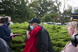 Jon Stewart Photo - Comedian Jon Stewart right embraces Rosie Torres whose husband Army Capt (retired) LeRoy Torres died from complications from exposure to burn pits prior to a press conference regarding legislation to assist veterans exposed to burn pits outside the US Capitol in Washington DC Tuesday September 15 2020 Credit Rod Lamkey  CNPAdMedia