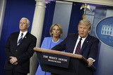 Devo Photo - United States President Donald J Trump speaks during a press briefing on the Coronavirus COVID-19 pandemic with members of the Coronavirus Task Force at the White House in Washington DC on March 27 2020  At left is US Vice President Mike Pence and at center is US Secretary of Education Betsy DeVosCredit Yuri Gripas  Pool via CNPAdMedia