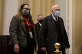 The Used Photo - United States Senator Patrick Leahy (Democrat of Vermont) President pro tempore of the US Senate wears a protective mask while walking through the US Capitol in Washington DC US on Saturday Feb 13 2021 Credit Ting Shen - Pool via CNPAdMedia