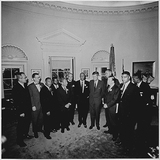 Kennedy Photo - Photograph of United States President John F Kennedys meeting in the Oval Office of the White House in Washington DC with the leaders of the March on Washington on August 28 1963  From left to right Willard Wirtz Martin Luther King Jr Eugene Carson Blake John F Kennedy VP Lyndon Baines Johnson Walter Reuther Others not in order A Philip Randolph John Lewis Whitney Young Mathew Ahmann Joachin Prinz Roy Wilkins Floyd McKissickCredit White House via CNPAdMedia