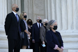 Jimmy Carter Photo - CORRECTION - CORRECTS TO REMOVE REFERENCE TO JIMMY CARTER - People watch as the flag-draped casket of Justice Ruth Bader Ginsburg arrives at the Supreme Court in Washington Wednesday Sept 23 2020 Ginsburg 87 died of cancer on Sept 18 Credit Alex Brandon  Pool via CNPAdMedia