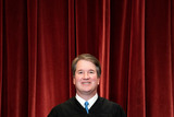 Supreme Court Photo - Associate Justice of the Supreme Court Brett Kavanaugh stands during a group photo of the Justices at the Supreme Court in Washington DC on April 23 2021  Credit Erin Schaff  Pool via CNPAdMedia