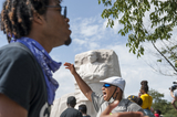 Martin Luther King Jr Photo - People brave the extreme Summer heat to chant and gather at the Martin Luther King Jr Memorial following the Get Your Knee Off Our Necks March on Washington at the Lincoln Memorial in Washington DC Friday August 28 2020 Credit Rod Lamkey  CNPAdMedia