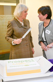 Cake Photo - 20022020 - Camilla Duchess of Cornwall with Prospect CEO Irene Watkins cuts a cake during a visit to Prospect Hospice in Wroughton Swindon in celebration of their 40th anniversary year Prospect Hospice is a local charity that supports a community of more than 300000 people in Swindon Marlborough and North East Wiltshire The hospice cares for and supports around 7300 patients carers and family members each year Photo Credit ALPRAdMedia