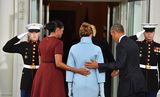 Barack Obama Photo - President Barack Obama (R) and Michelle Obama escort President-elect Donald Trump and wife Melania into the White House for tea before the inauguration on January 20 2017 in Washington DC  Trump becomes the 45th President of the United States Photo Credit Kevin DietschCNPAdMedia