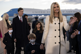 JARED KUSHNER Photo - Ivanka Trump senior adviser to President Trump Jared Kushner senior White House adviser and their children arrive to a farewell ceremony at Joint Base Andrews Maryland US on Wednesday Jan 20 2021 Trump departs Washington with Americans more politically divided and more likely to be out of work than when he arrived while awaiting trial for his second impeachment - an ignominious end to one of the most turbulent presidencies in American history Credit Stefani Reynolds  Pool via CNPAdMedia