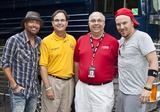 LoCash Cowboys Photo - June 11 2011 - Woodstock GA - (l-r) Preston Brust (LCC) Woodstock GA Mayor Donnie Henriques KICKS 1015 FM personality Greg Talmadge and Chris Lucas (LCC)The LoCash Cowboys headlined at the Woodstock Summer Concert Series and performed songs from their current album for a large crowd Photo credit Dan HarrAdMedia