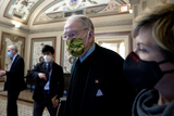 Chuck Grassley Photo - Senator Chuck Grassley a Republican from Iowa center wears a protective mask while walking through the US Capitol in Washington DC US on Saturday Feb 13 2021 The Senate voted to consider a request for witnesses at Donald Trumps impeachment trial injecting a chaotic new element that could end up prolonging proceedings that appeared to be on track to wrap up today Credit Stefani Reynolds - Pool via CNPAdMedia