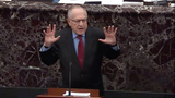 The National Photo - In this image from United States Senate television Alan Dershowitz tries to explain his statement from Tuesday evening where he seemed to say if a president sees their own reelection as being in the national interest he cannot be considered corrupt unless it also involves a crime during question-and-answer portion of the impeachment trial of US President Donald J Trump in the US Senate in the US Capitol in Washington DC on Wednesday January 29 2020Mandatory Credit US Senate Television via CNPAdMedia
