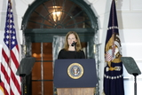Supremes Photo - Amy Coney Barrett makes remarks after being sworn-in as Associate Justice of the US Supreme Court at the White House in Washington DC October 26 2020 Credit Chris Kleponis  Pool via CNPAdMedia