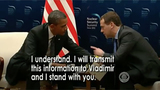 Barack Obama Photo - In this image from United States Senate television US President Barack Obama speaks with Prime Minister Dmitry Medvedev of Russia in this graphic used by Eric Herschmann counsel to the President as he makes his presentation during the impeachment trial of US President Donald J Trump in the US Senate in the US Capitol in Washington DC on Monday January 27 2020Mandatory Credit US Senate Television via CNPAdMedia